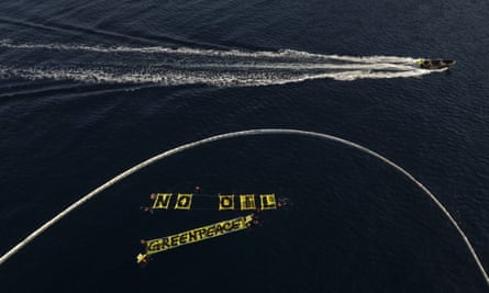 Greenpeace banner on water
