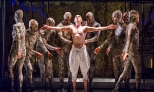 Naked unveiling … Anthony Roth Costanzo as Akhnaten is disrobed by acolytes.