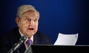 Philanthropist George Soros delivers a speech on the sideline of the World Economic Forum n Davos, Switzerland.