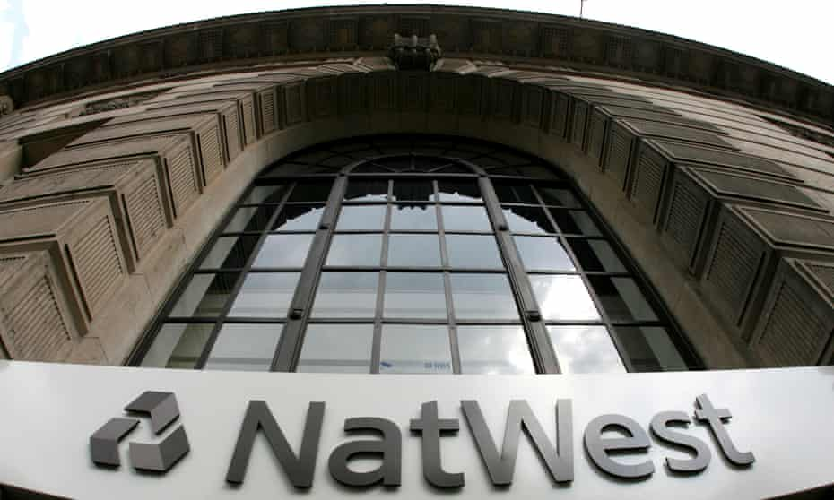 Signage on a branch of NatWest Bank in central London