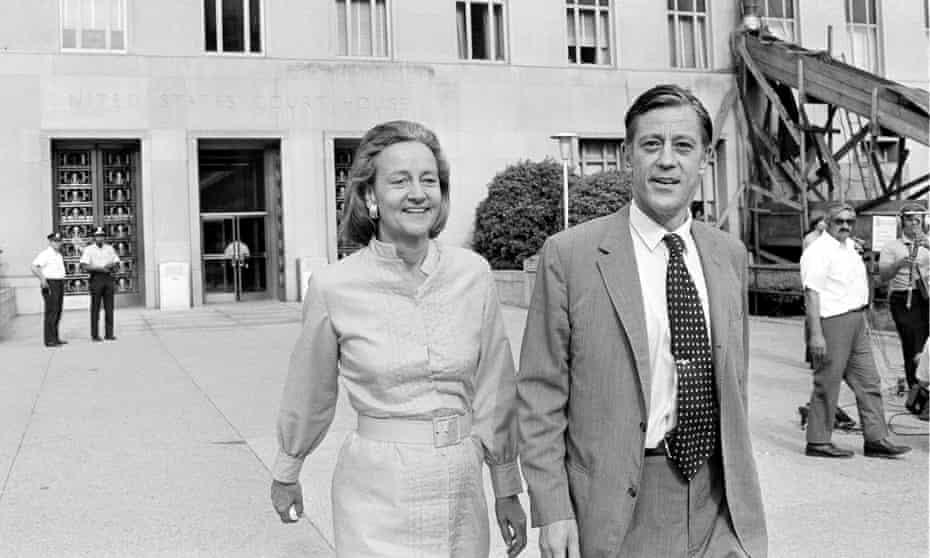 Katharine Graham, left, publisher of the Washington Post, and Ben Bradlee, executive editor, leave court in Washington in 1971.