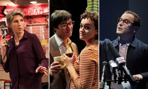 Come the revolution … Tamsin Greig in James Graham's Labour of Love, Christopher Simpson and Lily Nichol in Maydays, and Joshua McGuire in I'm Not Running