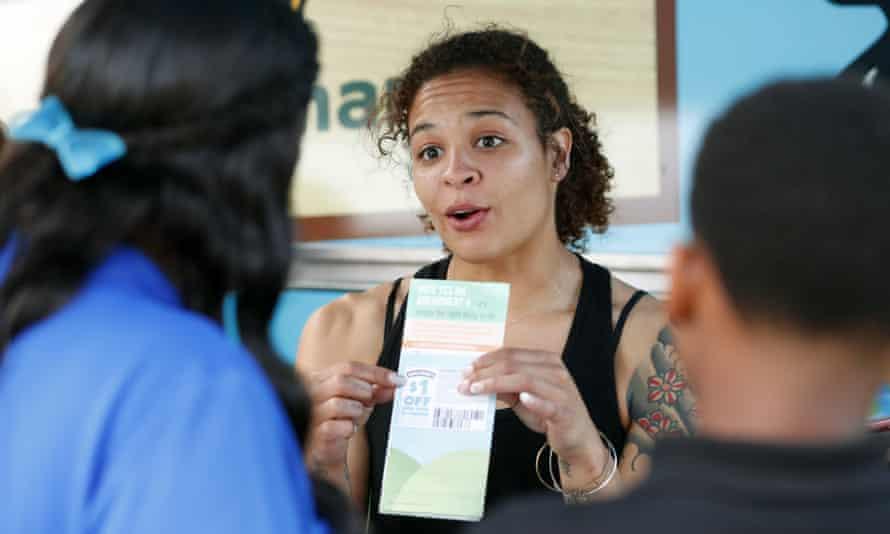 Jessica Jones talks about amendment 4 at Charles Hadley Park in Miami.