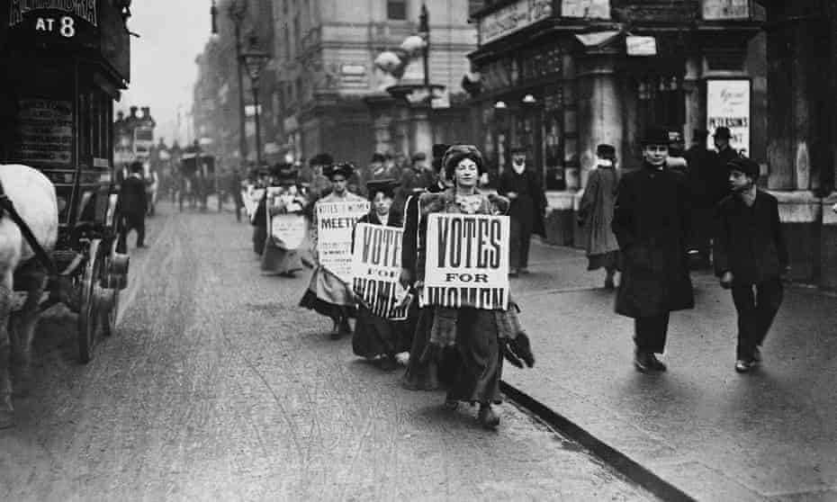 Suffragettes marching in London in 1912.