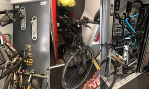 Pictures of bikes being stored on trains in the UK