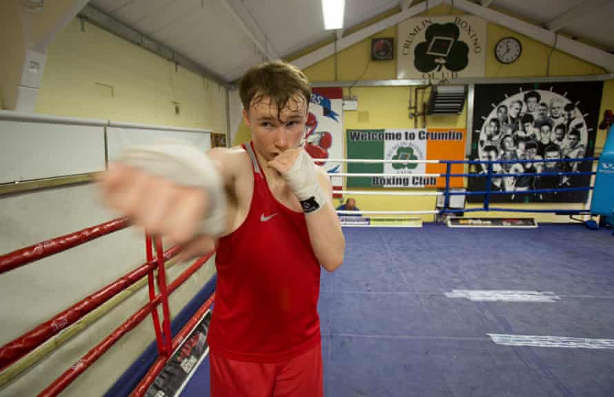 Son William warms up for a sparring session.