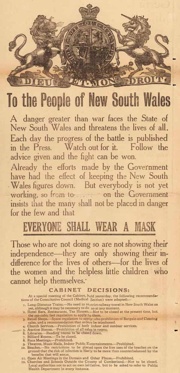 Flu proclamation from NSW government during the Spanish flu outbreak