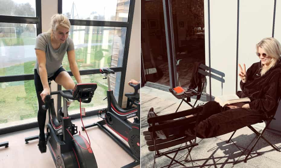 Hegerberg exercising five weeks after knee surgery and relaxing two weeks later