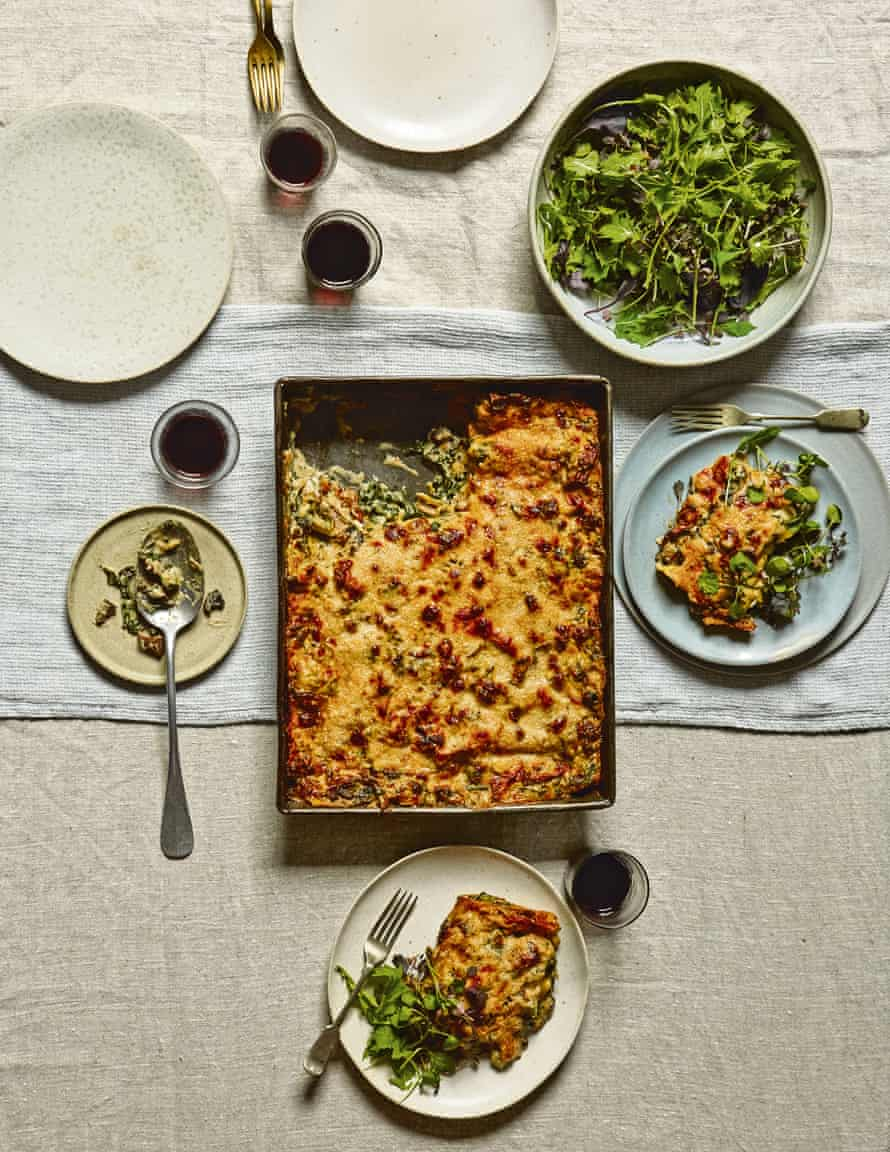 Mushroom and roast kale lasagne: drizzle with truffle oil, if you like, and serve with more parmesan and some green salad.