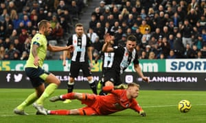 Ciaran Clark of Newcastle United scores their second goal.