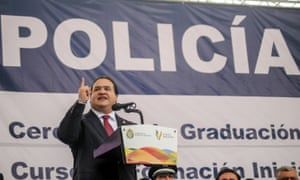 Javier Duarte, governor of Veracruz 2010-2016, at a police academy graduation ceremony in 201.