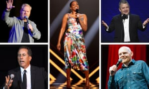 Perfectly decent standups … clockwise from left, 2021 Grammy comedy award nominees Jim Gaffigan, Tiffany Haddish, Patton Oswalt, Bill Burr and Jerry Seinfeld.