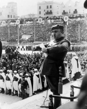 General Francisco Franco addressing a youth organisation in Madrid, 6 November 1939.