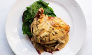 'Keep the heat fairly low so that the butter bubbles lazily': chicken with marsala and crème fraîche.