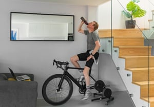 Man on a turbo trainer