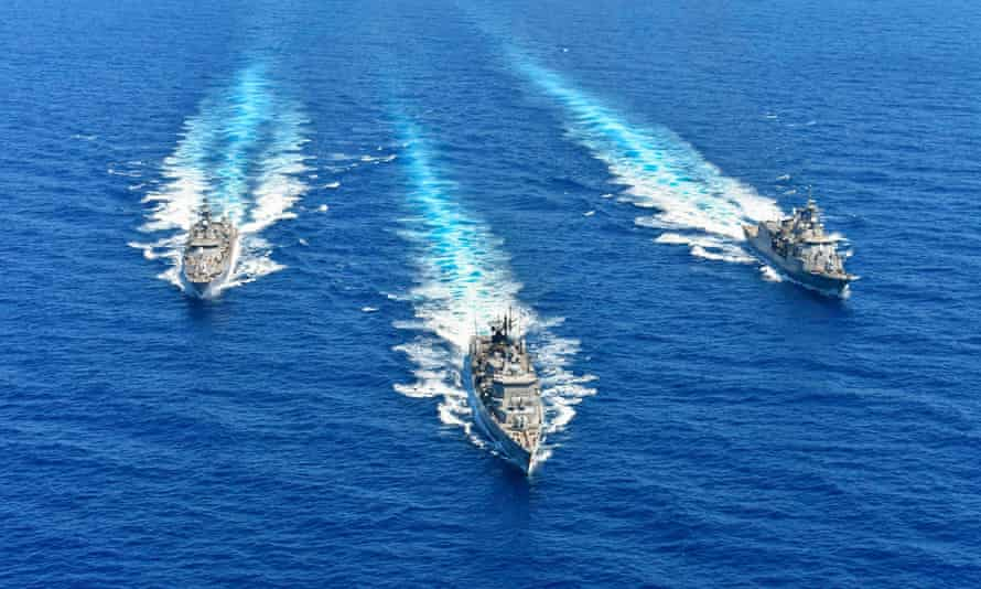 Hellenic Navy ships taking part in a military exercise in the eastern Mediterranean Sea last month