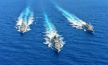 Greek naval vessels take part in a military exercise in the eastern Mediterranean.