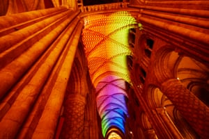 """Artist Migeul Chevalier's """"Complex Meshes 2015"""" on the vaulted roof of Durham Cathedral"""