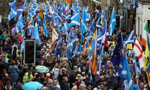 Scottish independence supporters march through Edinburgh during an All Under One Banner march