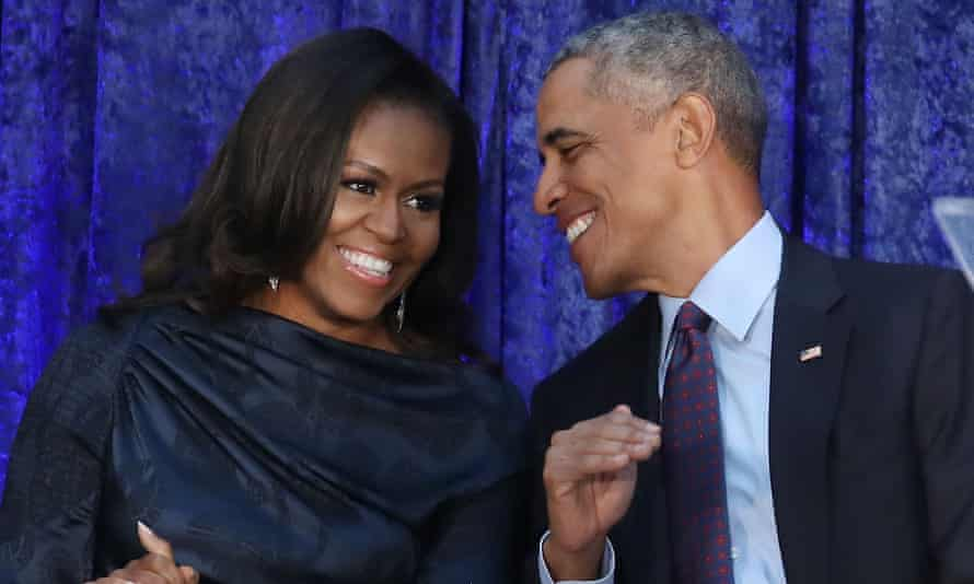 Michelle and Barack Obama in 2018.