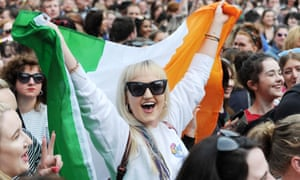 People celebrate in Dublin after Ireland votes to legalise abortion.