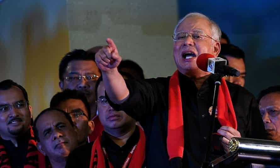 Malaysian prime minister Najib Razak addresses Rohingya Muslim refugees in Kuala Lumpur.