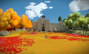The Witness eschews complex textures in favour of beautiful colours and geometry