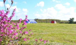 Granary Barn campsite at Sithney, Helston, Cornwall, UK.