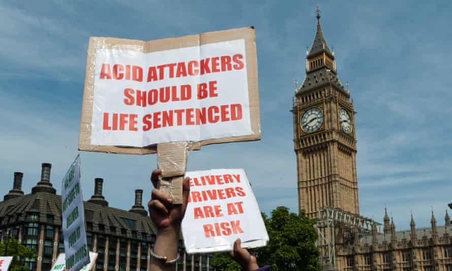 Protest in Parliament Square against acid attacks