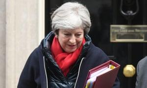 Theresa May sets off for PMQs.