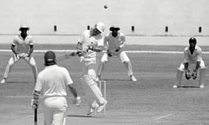 Graham Gooch avoids a bouncer in the first Test.