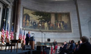 Trump speaks at the National Archives, during his White House Conference on American History.