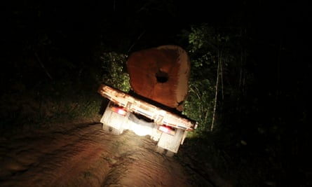 A truck carrying a tree extracted illegally from the Amazon rainforest drives at night near the city of Uruara, Para State.
