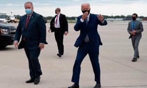 Joe Biden arrives at Milwaukee Mitchell International Airport in Milwaukee, Wisconsin on Thursday.