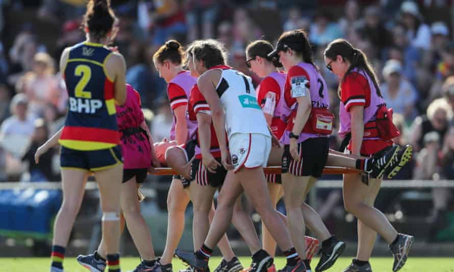 Clara Fitzpatrick of St Kilda Saints is carried off with concussion during the 2020 AFLW match against Adelaide Crows at Richmond Oval in February.
