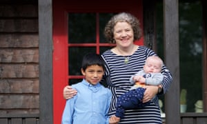 27/04/2017 Cappaghauneen, Moate, Co Westmeath, Ireland Brid O'Flaherty with her sons Hugo (9) and Oscar (3 months) © Patrick Bolger