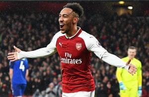 Arsenal's Pierre-Emerick Aubameyang celebrates after scoring to make it 4-0.