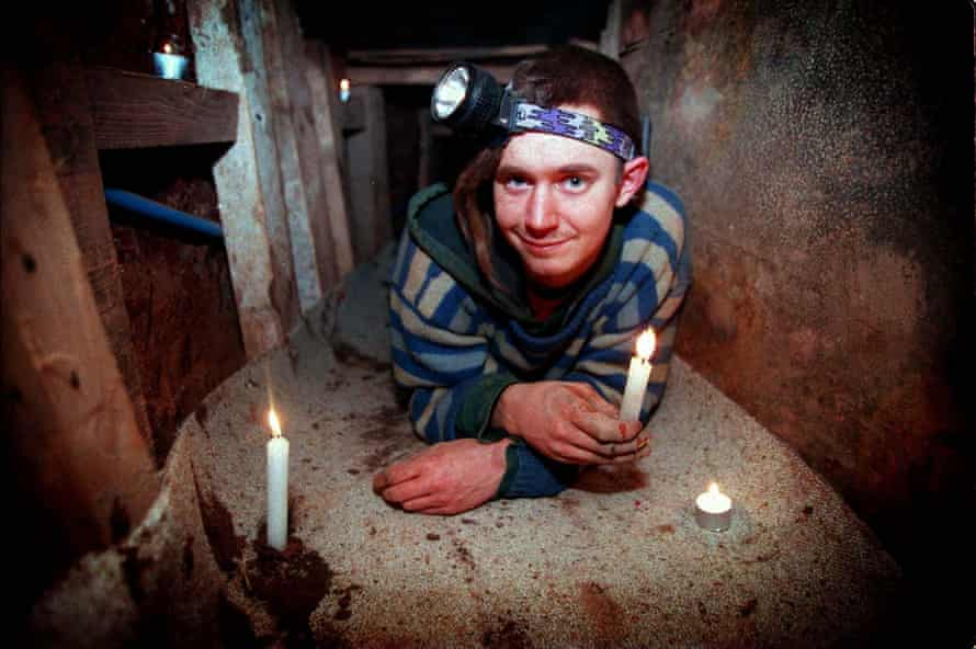 Environmental activist Daniel Hooper, AKA Swampy, in a tunnel dug in the path of a planned expansion at Manchester airport in 1997.