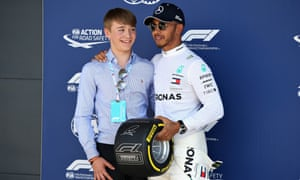 Billy Monger with Lewis Hamilton at the 2018 British Grand Prix at Silverstone.