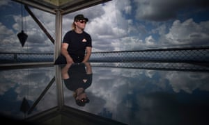 Nick Dutton, fire tower operator, Rural Fire Service in the Kowen Forest fire tower near Canberra.