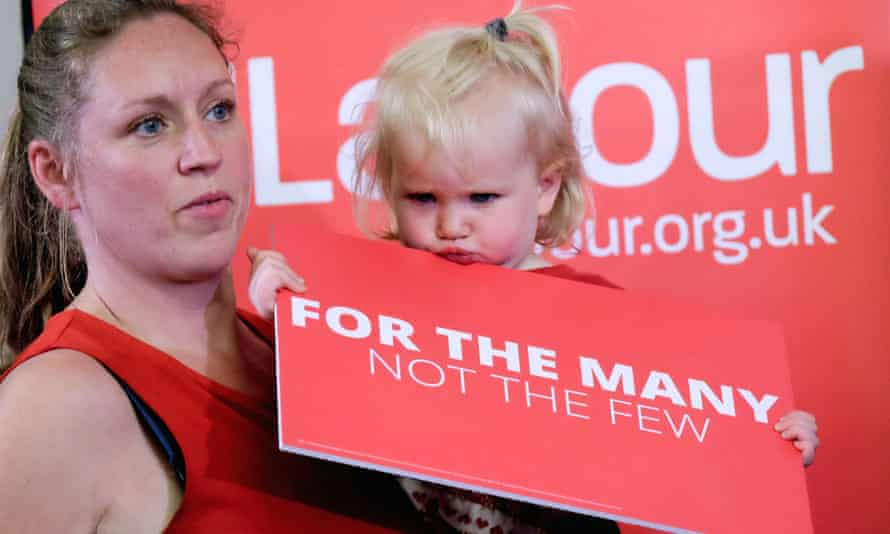 A Labour supporter and her daughter at an election rally in May 2017.