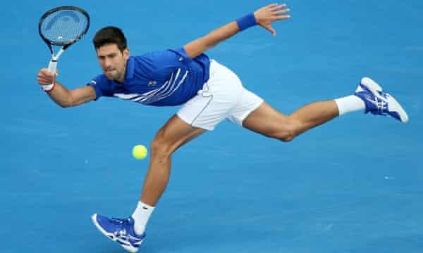Novak Djokovic of Serbia fires back a forehand.