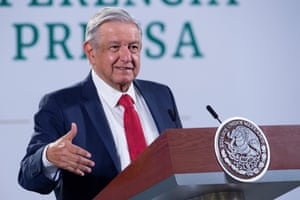 A handout photo made available by the Mexican presidency shows President Andres Manuel Lopez Obrador during a morning press conference at the National Palace in Mexico City, Mexico, on 21 January 2021.