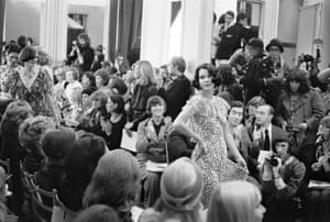 At an early salon show for Yves Saint Laurent, Moore was one of the few photographers invited.
