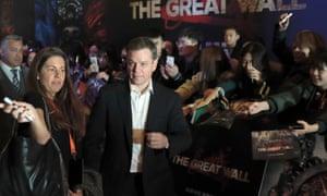 Matt Damon promoting The Great Wall in Beijing.