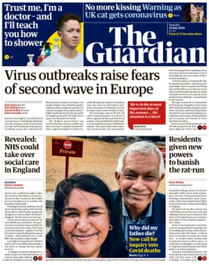 Guardian front page, Tuesday 28 July 2020