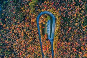 Colourful autumn foliage seen from the air in New Hampshire, US