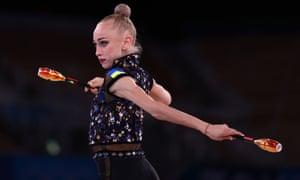 Viktoriia Onopriienko of Ukraine in action with clubs.