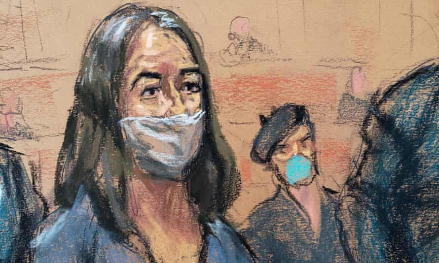 A courtroom sketch shows Ghislaine Maxwell during her arraignment hearing on a new indictment at Manhattan federal court in New York City, 23 April 2021.