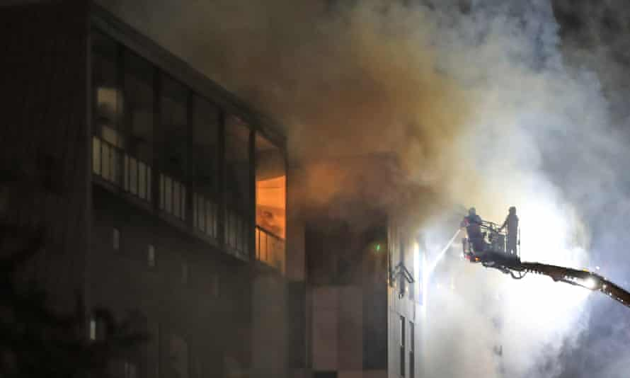 Firefighters tackle the blaze at The Cube, Bolton.